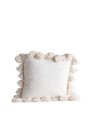 "18"" Square Cotton Pillow w/ Tassels - Cream"