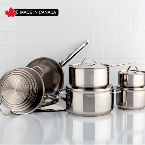 Classic Stainless Steel Cookware Set, 11 Piece - Meyer. Made in Canada