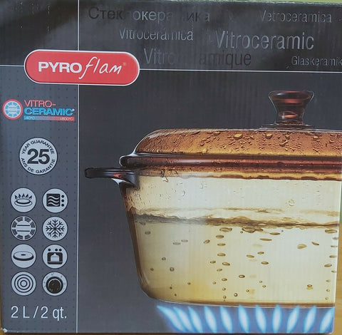 Pyroflam Round Glass Cookware-2L