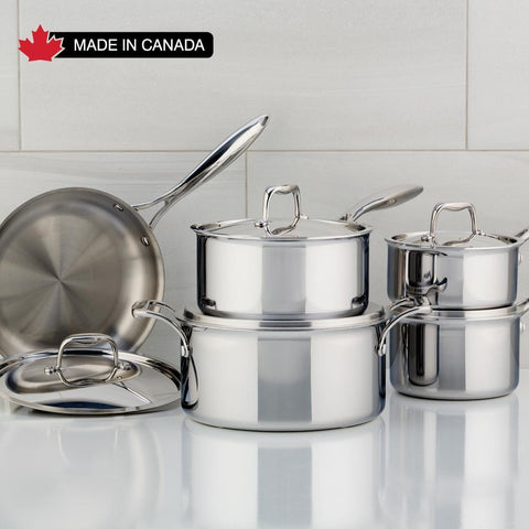 SuperSteel Tri-Ply Clad Stainless Steel 10-Piece Meyer, Made in Canada