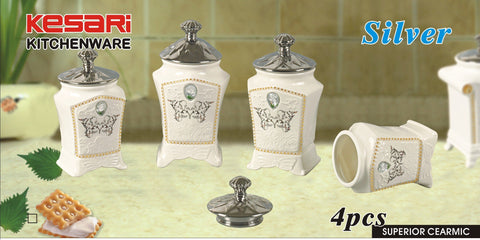 4pc Ceramic Canister Set Silver