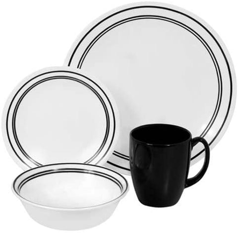 Corelle 16pc Dinnerware Set Classic Cafe Black