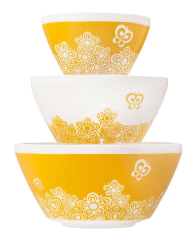 Pyrex 6pc Bowl Set Golden Days