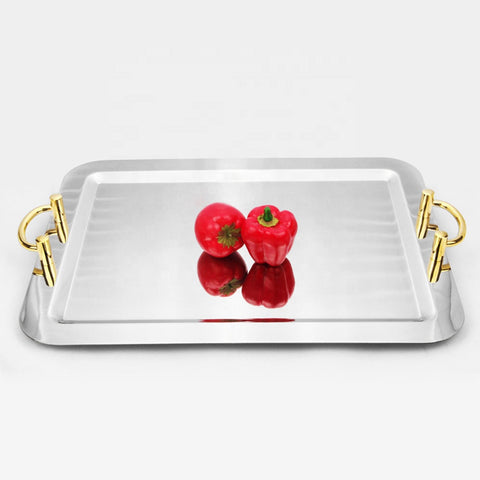 Stainless Steel Rectangular Serving Tray with Gold Handles