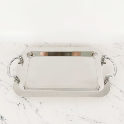 Stainless Steel Rectangular Serving Tray with Silver Handles