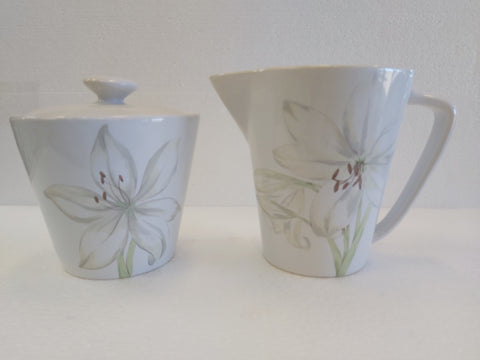 "Corelle Lifestyles Collection 4.5"" Footed Sugar & Creamer Set - White Flower"