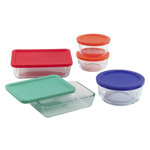Pyrex 10-piece Glass Food Storage Container Set with Assorted Colored Lids