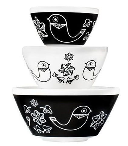 Pyrex 3 piece Bowl Set Birds of a Feather