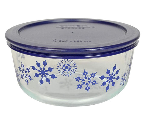 4 Cup Decorated Winter Holiday Blue