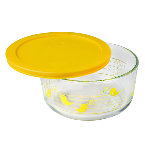 4 Cup Decorated Pyrex Yellow Birds