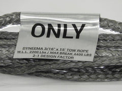 "3/16"" x 15' Dyneema Tow Rope WLL-2200 LBS Break-4400 LBS"