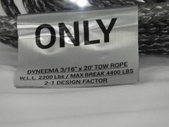 "3/16"" x 20' Dyneema Tow Rope WLL-2200 LBS Break-4400 LBS"