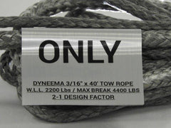 "3/16"" x 40' Dyneema Tow Rope WLL-2200 LBS Break-4400 LBS"