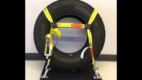 "2"" TIRE SECUREMENT STRAP (PAIR)-TURN ANY 2"" RATCHET STRAP INTO A TIRE TIE DOWN- WLL 3,333 LBS"