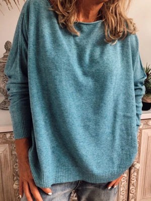 Blue Long Sleeve Cotton Plus Size Sweater