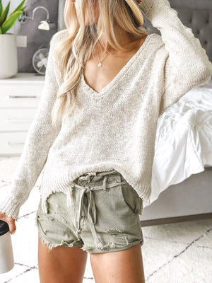 Beige Casual Knitted Sweater