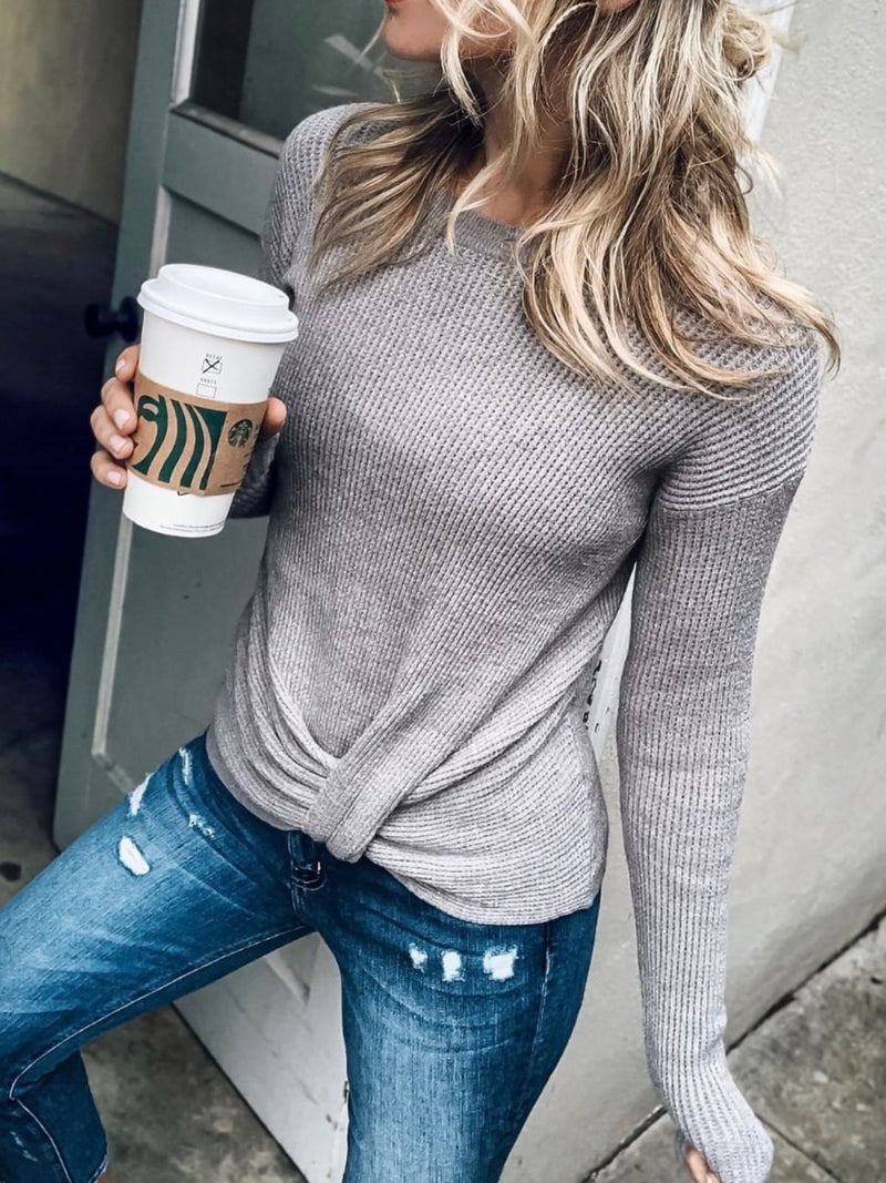 Grey Long Sleeve Knitted plus size Sweater