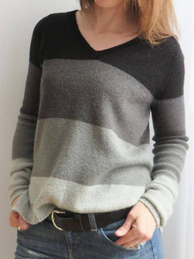 Black Long Sleeve Cotton-Blend Color-Block Sweater