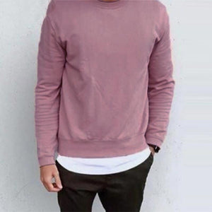 Men Hoodies Long Sleeve Round Neck Solid Chic Streetwear Leisure Workout Sweatshirts