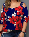 Print Floral Sequins Cold Shoulder 3/4 Sleeves Casual Plus Size Blouses