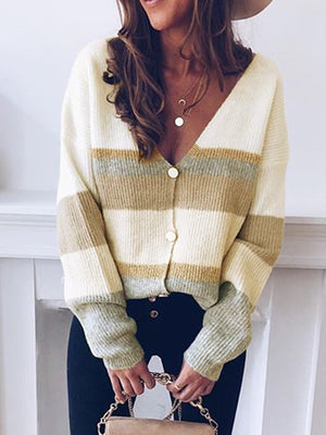 Long Sleeve V Neck Color-Block Sweater