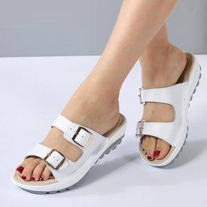 Women Platform Leather Buckle Flats Light Soft Comfortable Slides Sandals