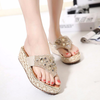 Women's Rhinestone Platform Sandal Shoes Beach Flip Flops Sandals