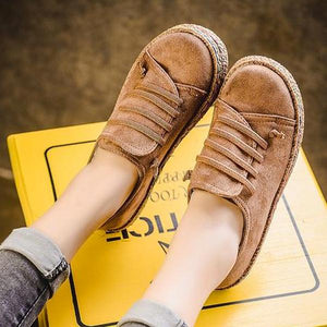 Women Casual Lace-up Flats Comfortable Round Toe Loafers Shoes