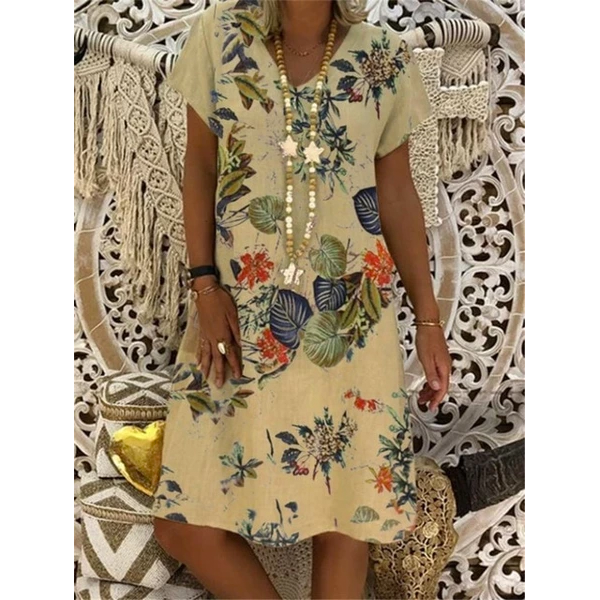 Large size Women's Dress Floral Print Short Sleeve V-neck Dresses