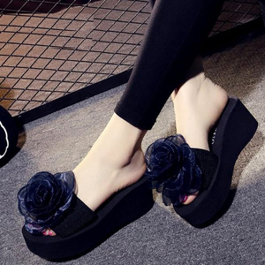 Women Flowers Platform Sandals Slippers High Heel Flip-flops Beach Shoes