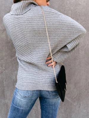 Grey Long Sleeve Knitted Casual plus size Sweater