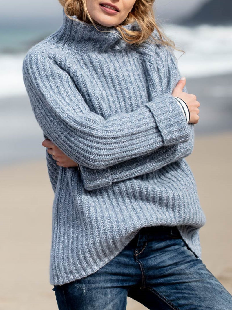 Casual Shift Round Neck Plain Sweater