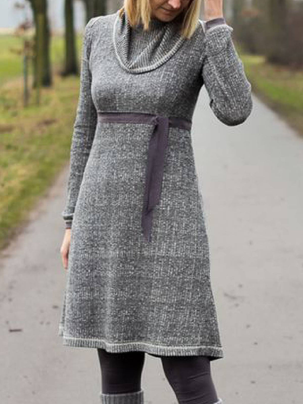 Cowl Neck Long Sleeve Cotton-Blend Fall Dresses