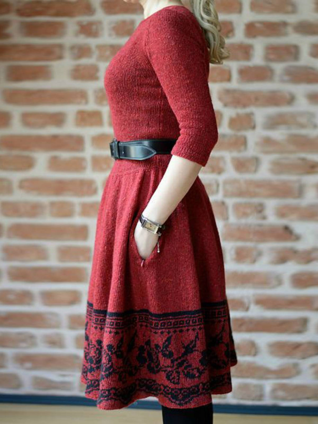 Casual Knitted Long Sleeve Plain Fall Dresses
