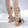 Bohemia Style Fringed Pompoms Gladiator Sandals Cross Strap Tie up Flats Sandals