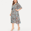 Plus Size Elegant Floral Print Chiffon Dress Women V Neck Elastic Waist Dresses