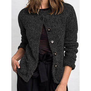 Casual Buttoned Solid Color Retro Cardigan