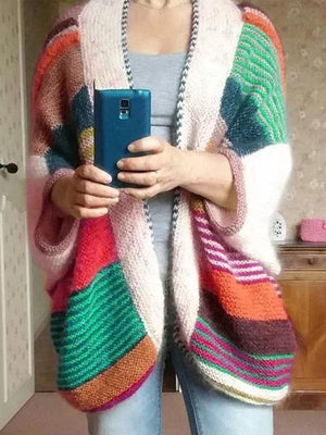 Plus Size Long Sleeve Multicolor Casual Outerwear