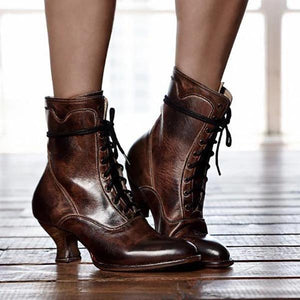 Lace-Up Winter Low Heel Women Boots