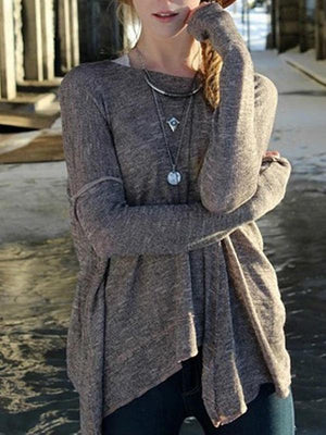 Loose Long Sleeves Backless Sweater Tops