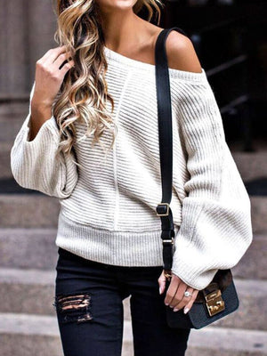 White Casual Off Shoulder Patchwork Knitted Sweater