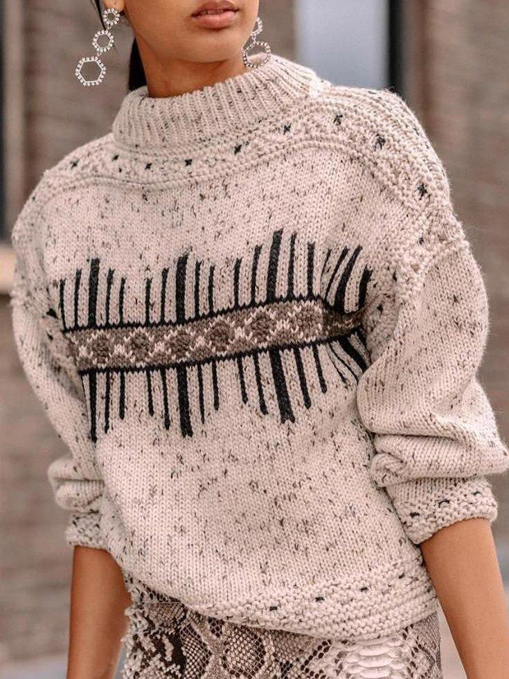Round Neck Long Sleeve Cotton-Blend Sweater