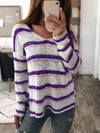 V Neck Casual Striped Sweater