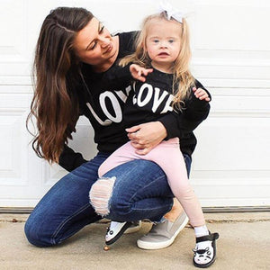 Mommy and Me Round collar Letter long sleeve Matching Tops