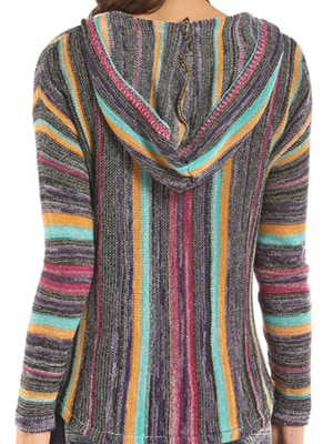 Multicolor Long Sleeve Hoodie Stripes Knitted Sweater