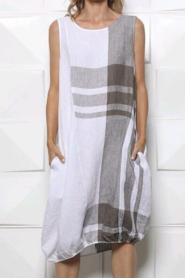 Sleeveless Plaid Print Casual Pockets Lantern Midi Dress