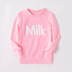 Mommy and Me High collar Letter Pink long sleeve Matching Tops