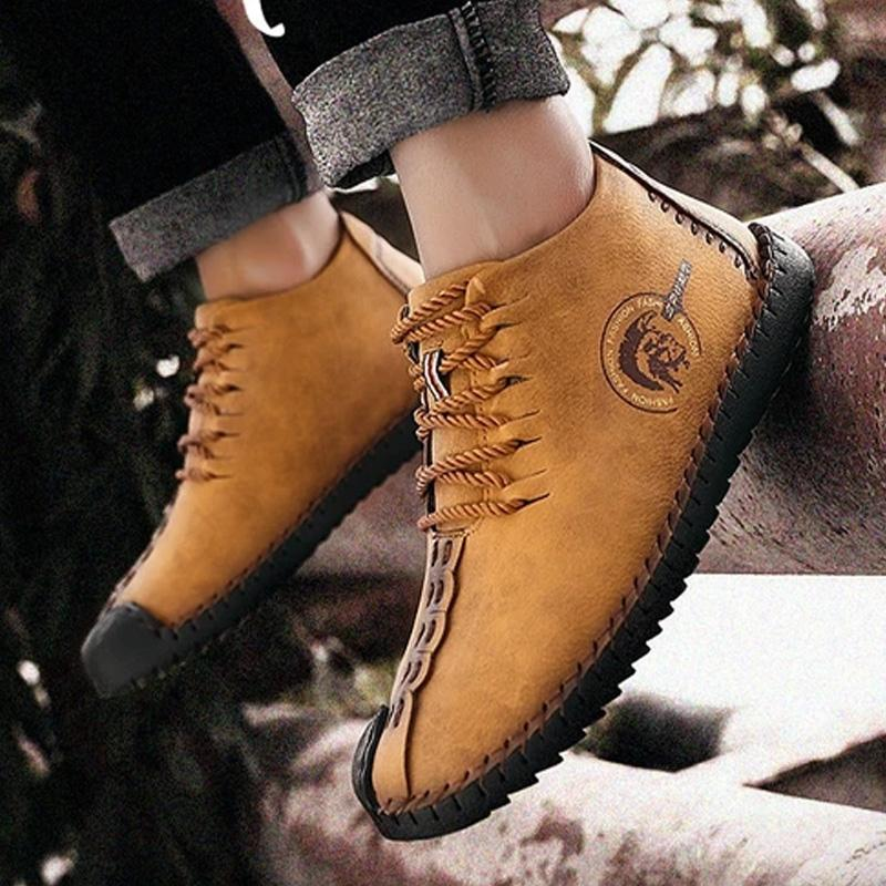 Men Boots Split Leather Ankle Snow Boots Shoes Warm Fur Plush Lace-Up Winter Shoes