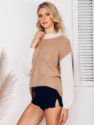 Crew Neck Solid Knitted Casual Sweater