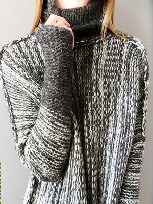 Casual Color-block Knitted Shift Sweater